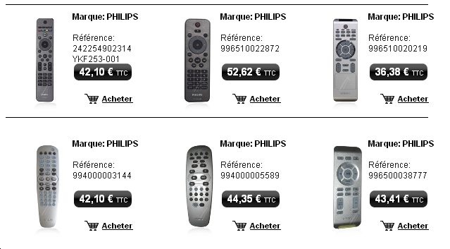 telecommande tv hifi video, des plus grandes marques, sony, lg, philips... sur telecommande tv